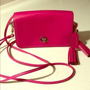 Hot pink coach crossbody with thin double straps!